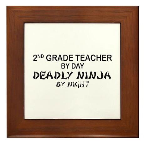 2nd Grade Teacher Deadly Ninja Framed Tile