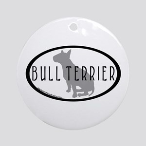 Bull Terrier Oval w/Text Ornament (Round)