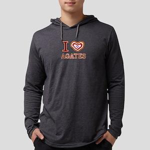 I Heart Agates Mens Hooded Shirt