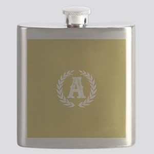 Mustard Yellow Monogram: Letter A Flask