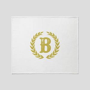 Mustard Yellow Monogram: Letter B Throw Blanket