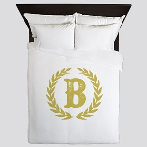 Mustard Yellow Monogram: Letter B Queen Duvet