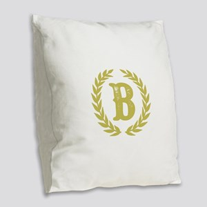 Mustard Yellow Monogram: Lette Burlap Throw Pillow