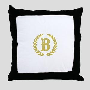 Mustard Yellow Monogram: Letter B Throw Pillow