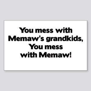 Don't Mess with Memaw's Grandkids! Sticker (Rectan