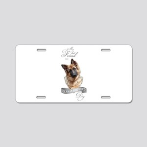 German Shepherd Best Friend Aluminum License Plate