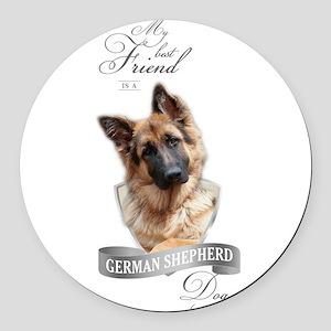 German Shepherd Best Friend Round Car Magnet