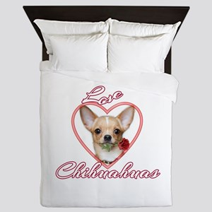 Valentines Love Chihuahua Queen Duvet