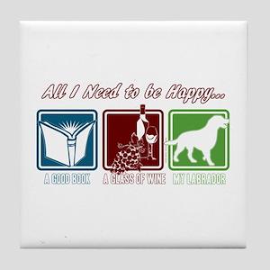 Book, Wine, Labrador Tile Coaster