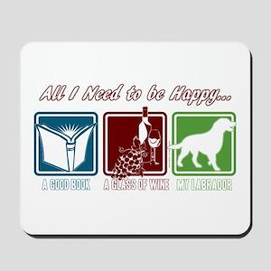 Book, Wine, Labrador Mousepad