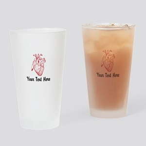Personalize VINTAGE HEART Drinking Glass