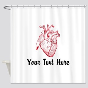 Personalize VINTAGE HEART Shower Curtain