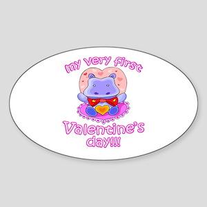 First Valentine's Day Hippo Oval Sticker