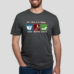 Book, Wine, Dachshund Mens Tri-blend T-Shirt