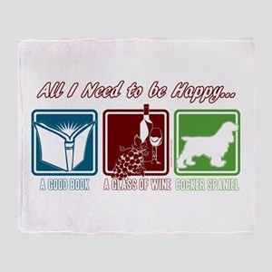 Book, Wine, Cocker Spaniel Throw Blanket