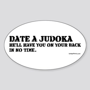 DATE A JUDOKA Oval Sticker