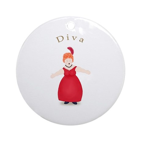 Redhead Diva in Red Dress Ornament (Round)