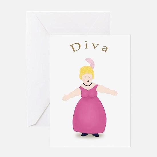 Blond Diva in Rose Dress Greeting Card