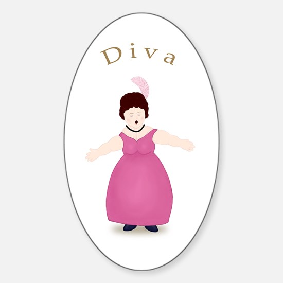 Brunette Diva in Rose Dress Oval Decal