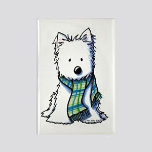 Plaid Scarf Westie Rectangle Magnet