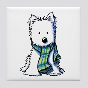 Plaid Scarf Westie Tile Coaster