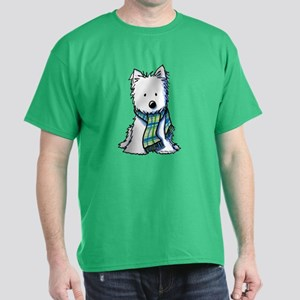Plaid Scarf Westie Dark T-Shirt