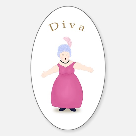 Gray Diva in Rose Dress Oval Decal