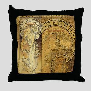 Art Nouveau Woman Collage Throw Pillow