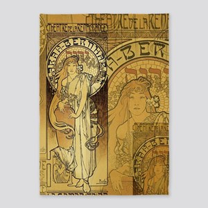 Art Nouveau Woman Collage 5'x7'area Rug