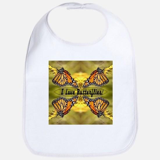 I Love Butterflies Bib