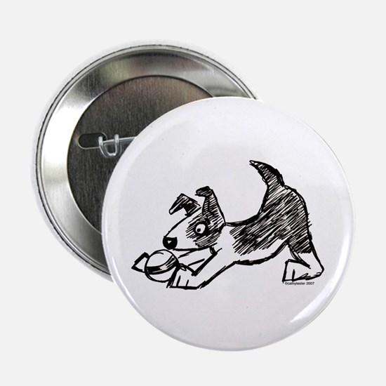 """Dog Playing With Ball 2.25"""" Button"""