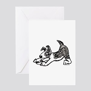 Dog Playing With Ball Greeting Card