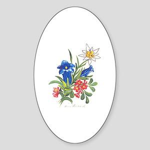 Alpine Flowers Oval Sticker