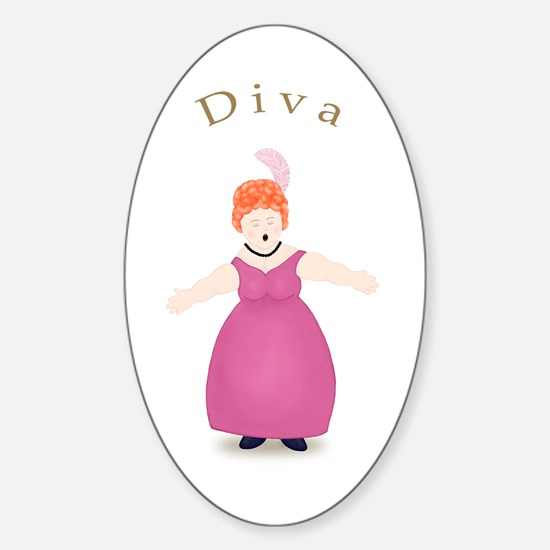 Redhead Diva in Rose Dress Oval Decal