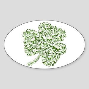 Shamrock Skull St Patricks Day Oval Sticker