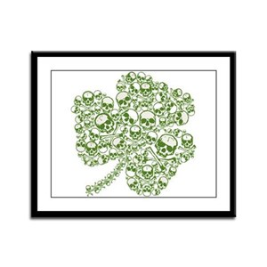 Shamrock Skull St Patricks Day Framed Panel Print