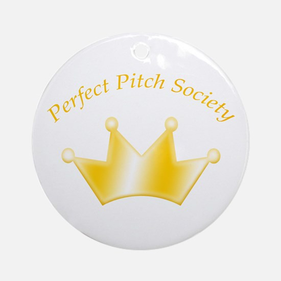 Perfect Pitch Society Gold Crown Ornament (Round)