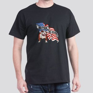 Bulldog United We Stand American Flag Dark T-Shirt