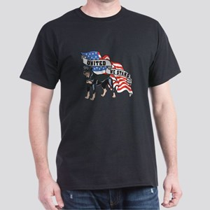 Rottweiler United We Stand American Flag Dark T-Sh