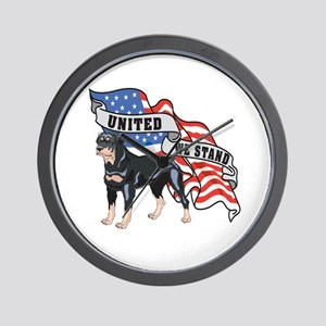 Rottweiler United We Stand American Flag Wall Cloc