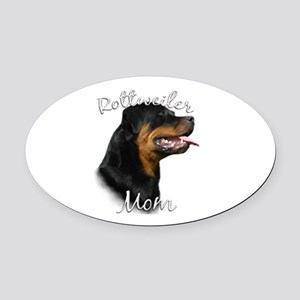 Rottweiler Mom Oval Car Magnet