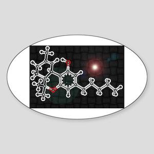 THC molecule Oval Sticker