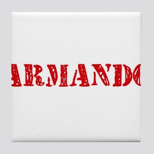 Armando Rustic Stencil Design Tile Coaster