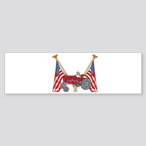 American Flags Red Tractor Bumper Sticker