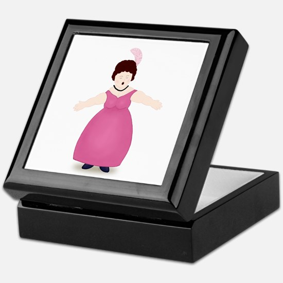 Brunette Singer in Rose Dress Keepsake Box