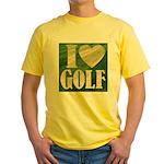 I Love Golf Yellow T-Shirt