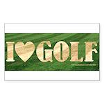 I Love Golf Rectangle Sticker