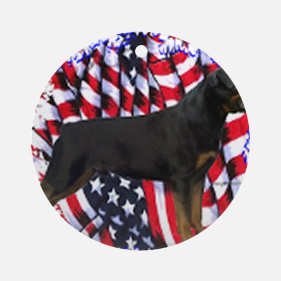 Rottweiler Flag Round Ornament