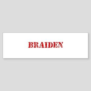 Braiden Rustic Stencil Design Bumper Sticker