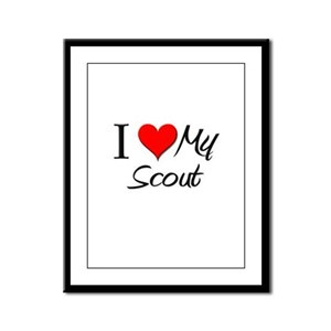 I Heart My Scout Framed Panel Print